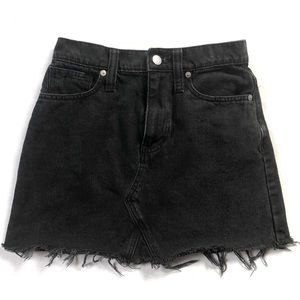 Madewell Black Denim Raw Hem Jean Mini Skirt